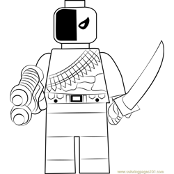 Lego Deathstroke Free Coloring Page for Kids