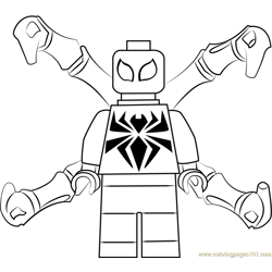 Lego Iron Spider Free Coloring Page for Kids