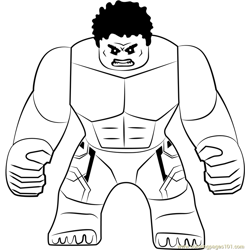Lego The Hulk Free Coloring Page for Kids