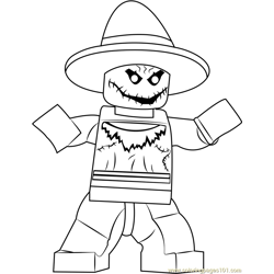Lego The Scarecrow Free Coloring Page for Kids
