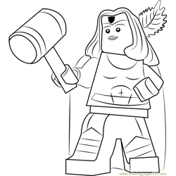 Lego Thor Girl Free Coloring Page for Kids