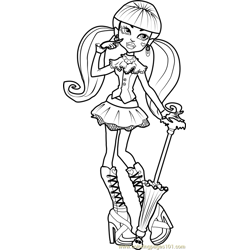 Draculaura Free Coloring Page for Kids
