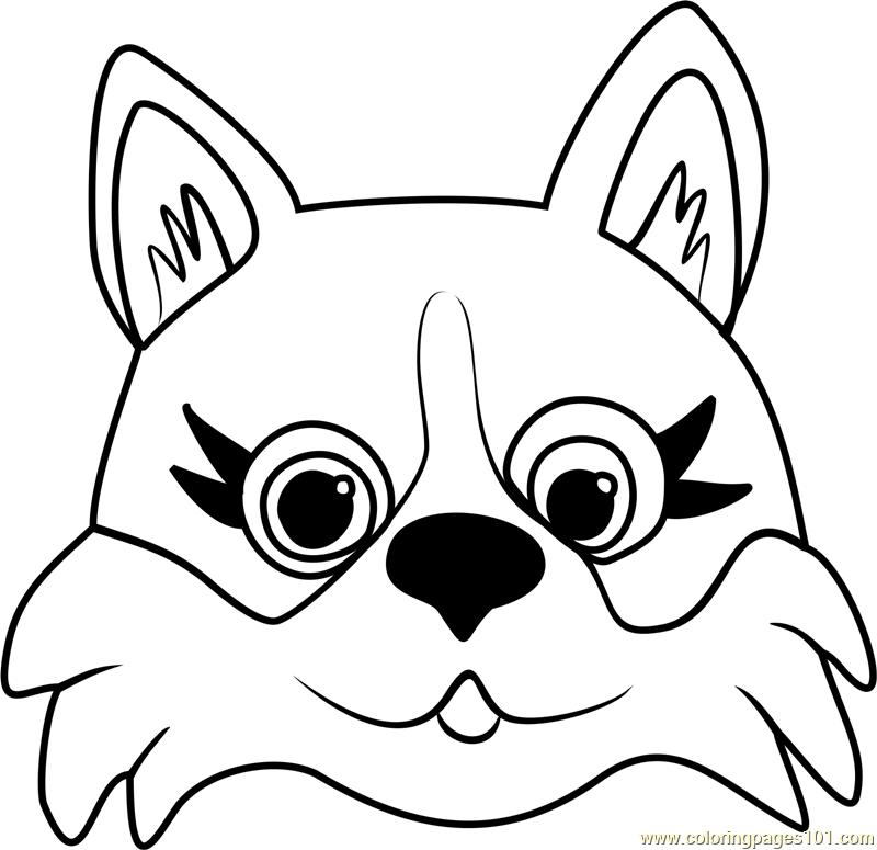 corgi puppy face coloring page