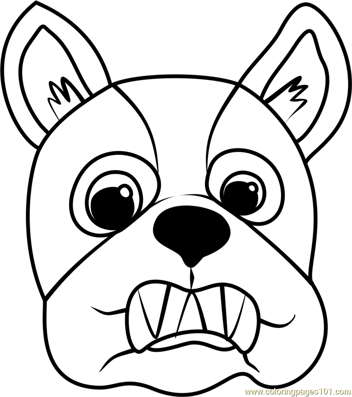 French Bulldog Puppy Face Coloring Page