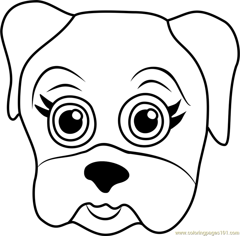 Pug Puppy Face Coloring Page