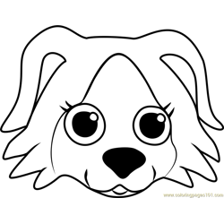 Border Collie Puppy Face Free Coloring Page for Kids