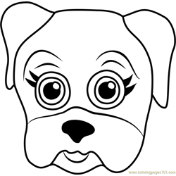 Pug Puppy Face Free Coloring Page for Kids