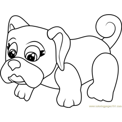 Pug Free Coloring Page for Kids
