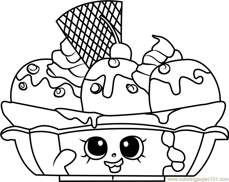 Banana Splitty Shopkins Coloring Page Free Shopkins Coloring Pages