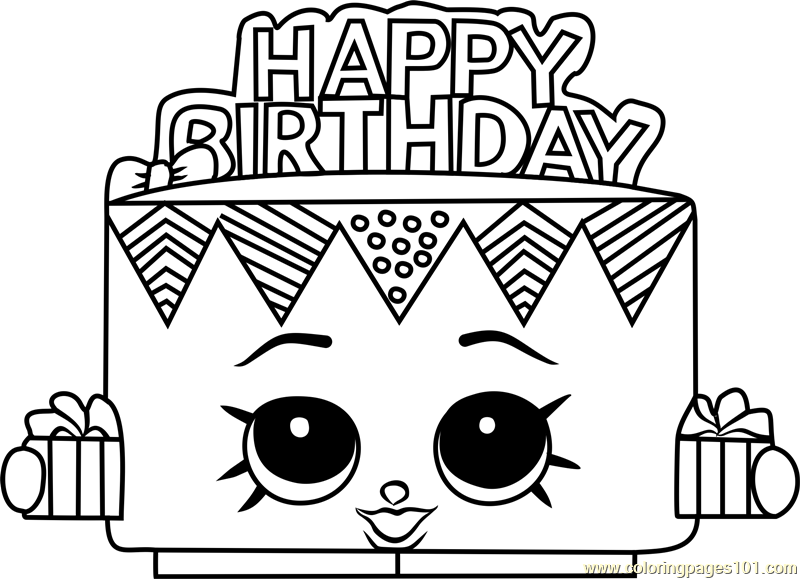 Birthday Betty Shopkins Coloring Page Free