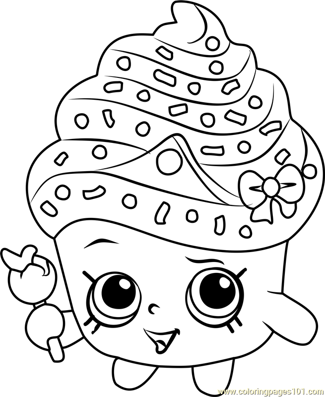 Cupcake Queen Shopkins Coloring Page Free Shopkins Coloring Pages