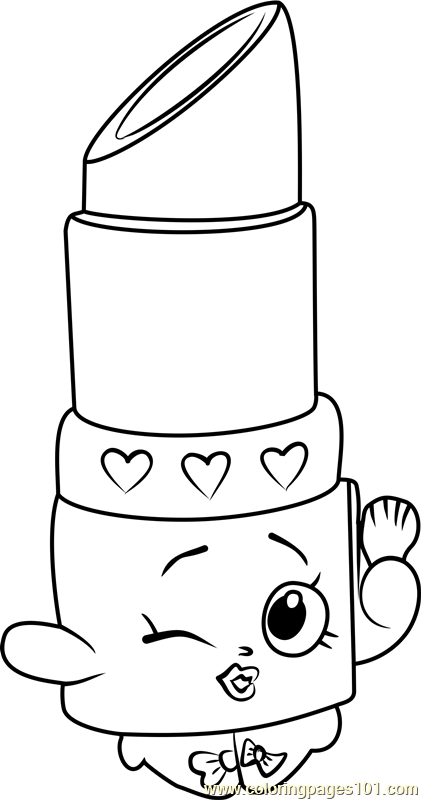 Elegant Lippy Lips Shopkins Coloring Page