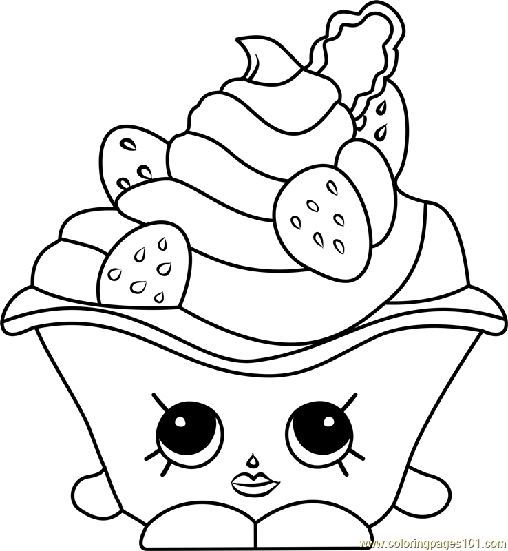 Strawberries And Cream Shopkins Coloring Page