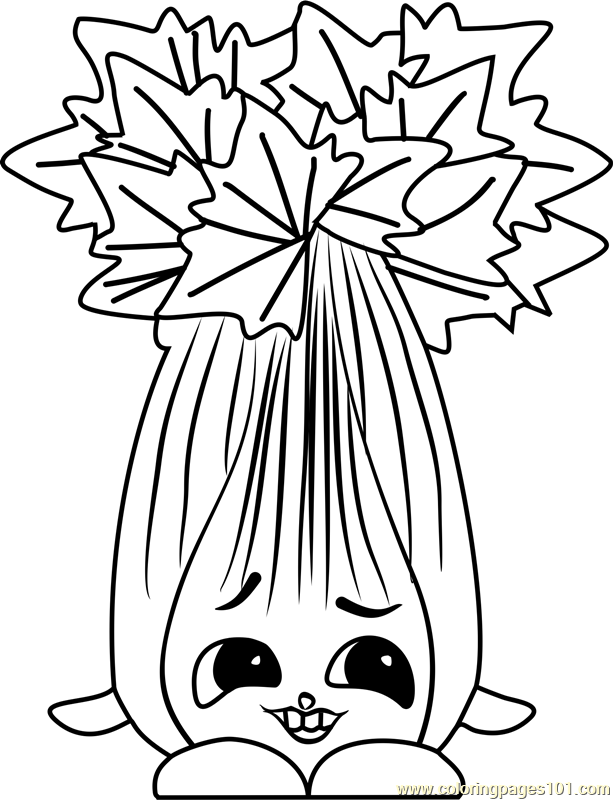 Super Celery Shopkins Coloring Page Free Shopkins