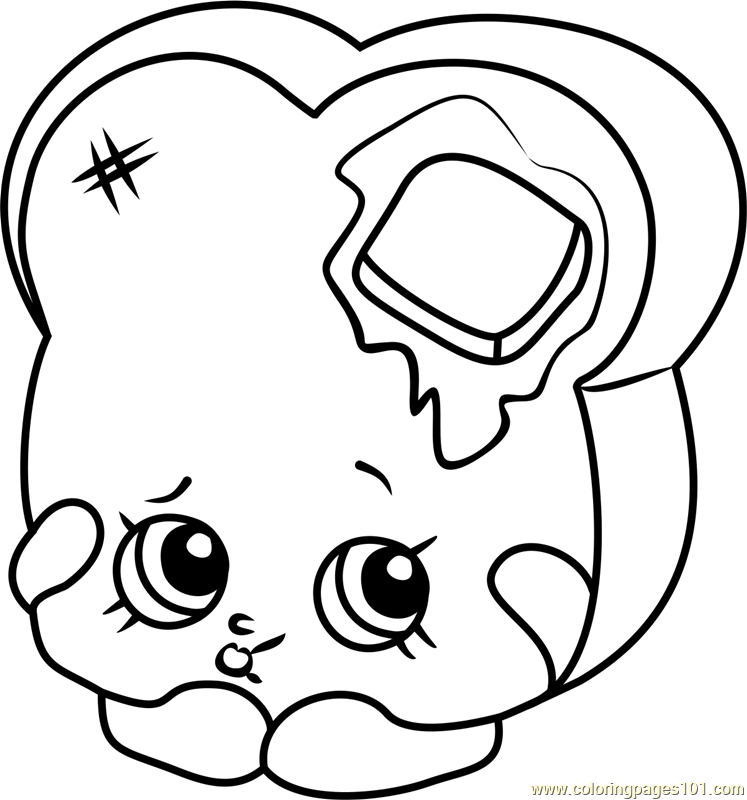Toastie Bread Shopkins Coloring Page Free Shopkins Coloring Pages ColoringPages101
