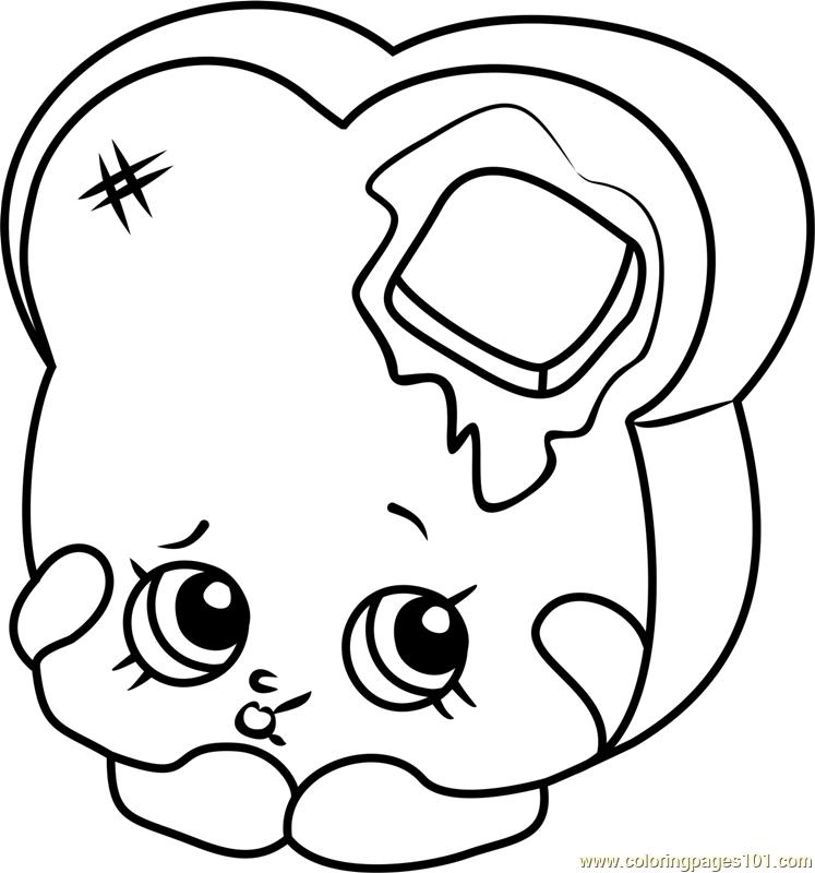 Toastie Bread Shopkins Coloring Page - Free Shopkins ...