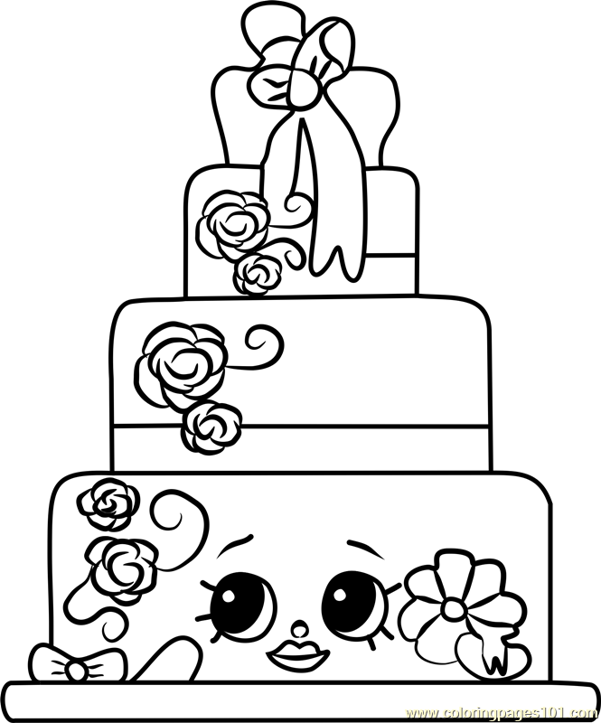 Wendy Wedding Cake Shopkins Coloring Page