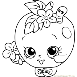 Apple Blossom Shopkins Free Coloring Page for Kids