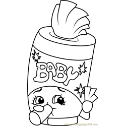 Baby Swipes Shopkins Free Coloring Page for Kids