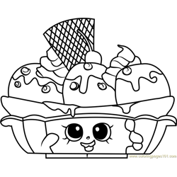 Banana Splitty Shopkins Free Coloring Page for Kids