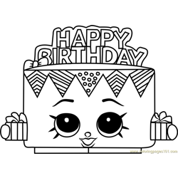 Birthday Betty Shopkins Free Coloring Page for Kids