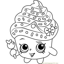 Cupcake Queen Shopkins Free Coloring Page for Kids