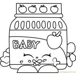 Ga Ga Gourmet Shopkins Free Coloring Page for Kids