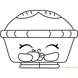 Hot Apple Pie Shopkins Free Coloring Page for Kids