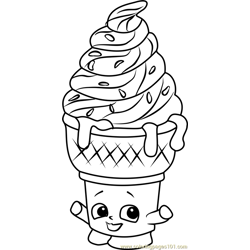 Ice-cream Dream Shopkins Free Coloring Page for Kids