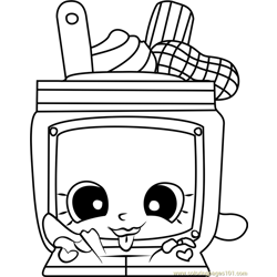 Nutty Butter Shopkins Free Coloring Page for Kids