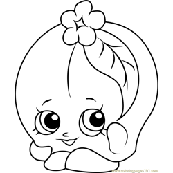 Peachy Shopkins Free Coloring Page for Kids