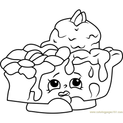 Pecanna Pie Shopkins Free Coloring Page for Kids