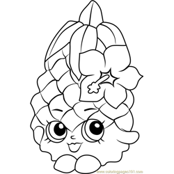 Pineapple Crush Shopkins Free Coloring Page for Kids