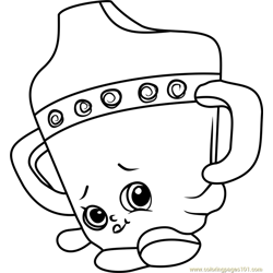 Sippy Sips Shopkins Free Coloring Page for Kids