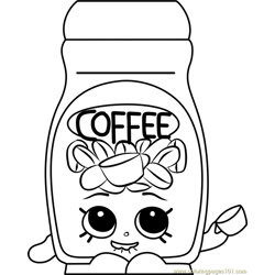 Toffy Coffee Shopkins Free Coloring Page for Kids