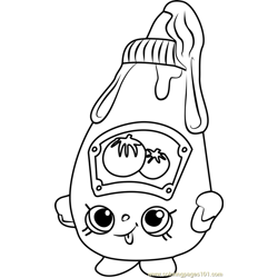 Tommy Ketchup Shopkins Free Coloring Page for Kids