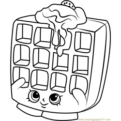 Waffle Sue Shopkins Free Coloring Page for Kids
