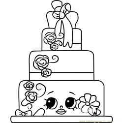 Wendy Wedding Cake Shopkins Free Coloring Page for Kids