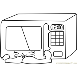Zappy Microwave Shopkins Free Coloring Page for Kids