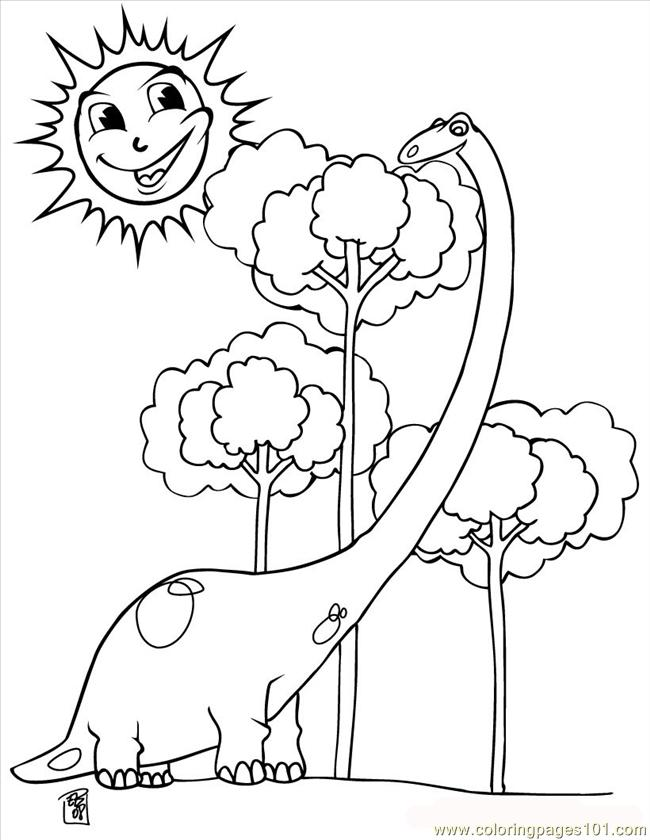 Dinosaur And Tree Source W3y Coloring Page