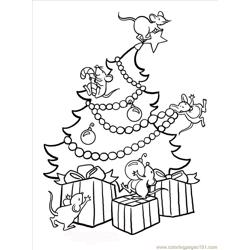Christmastreemice Big Free Coloring Page for Kids