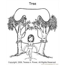 T Tree Coloring Page