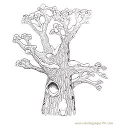 Hollow Tree Top Coloring Page Reversed