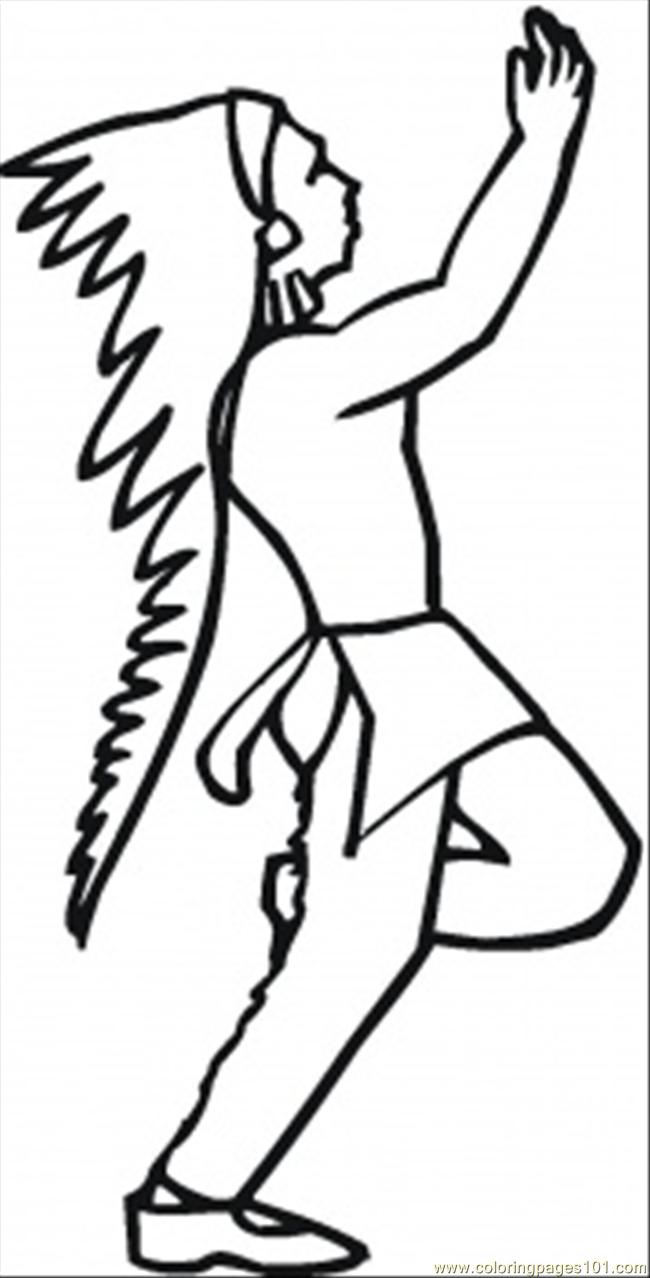 Dancing Indian Coloring Page