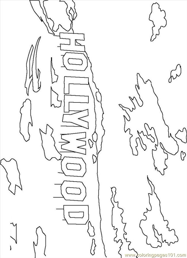 Hollywood Sign Coloring Page