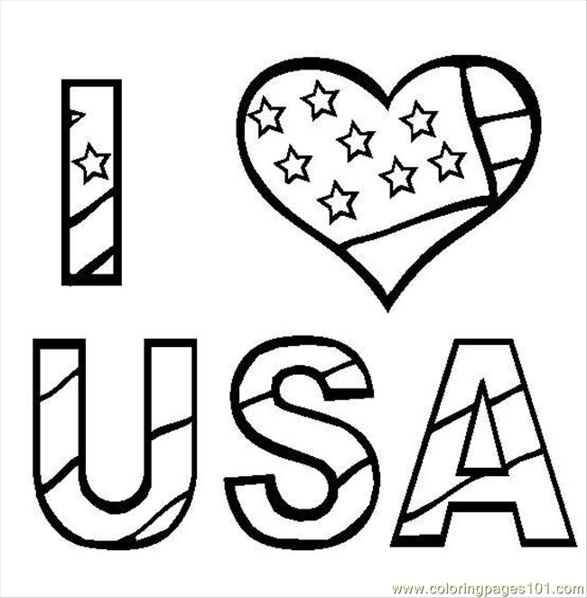 I Love Usa Coloring Page Free