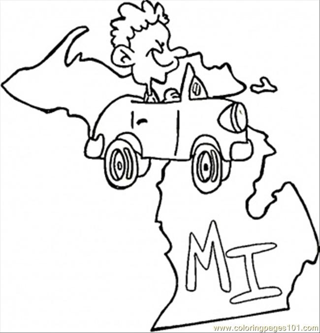 State of michigan coloring page free usa coloring pages for Michigan coloring pages