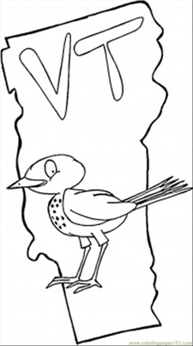 State Of Vermont Coloring Page