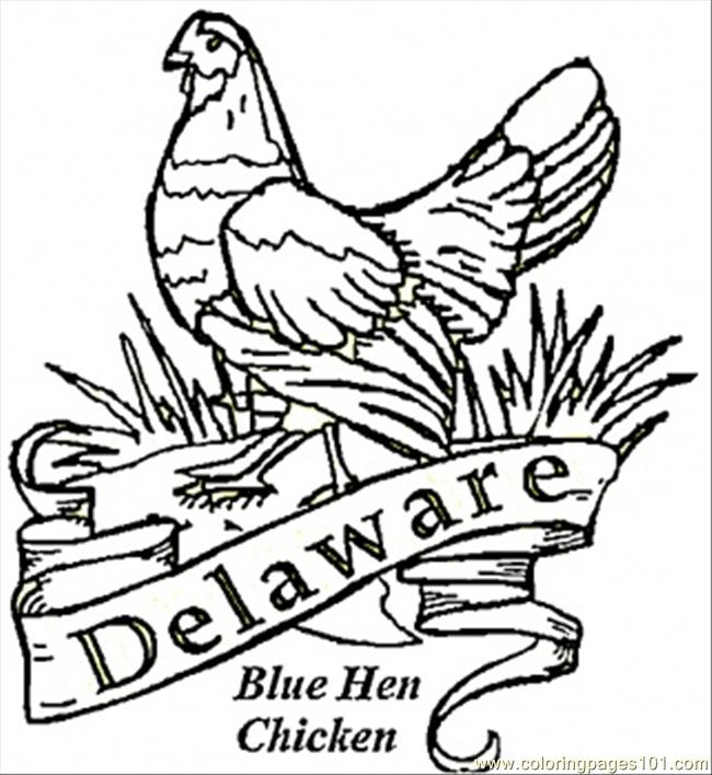 Blue Hen Bird Of Delaware Coloring Page Free Usa