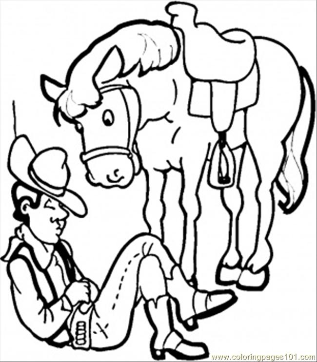 Cowboy With His Horse Coloring Page Free Usa Coloring